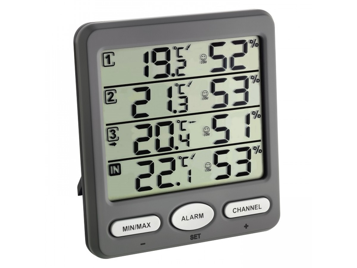 Statie meteo digitala Klima-Monitor cu 3 senzori externi wireless TFA S30.3054.10 imagine 2021 soldec-shop.ro