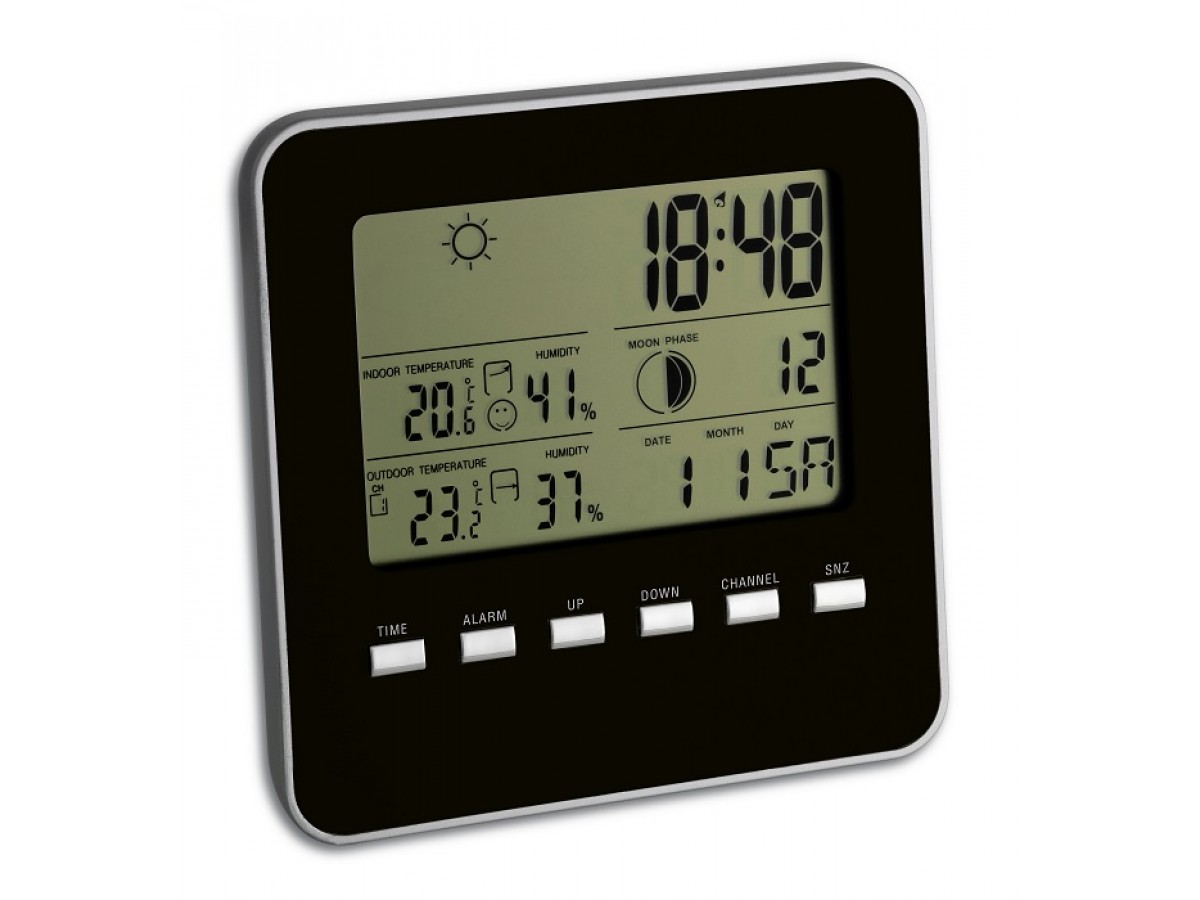 Statie meteo Quadro cu senzor wireless Negru TFA S35.1098.01 imagine 2021 soldec-shop.ro