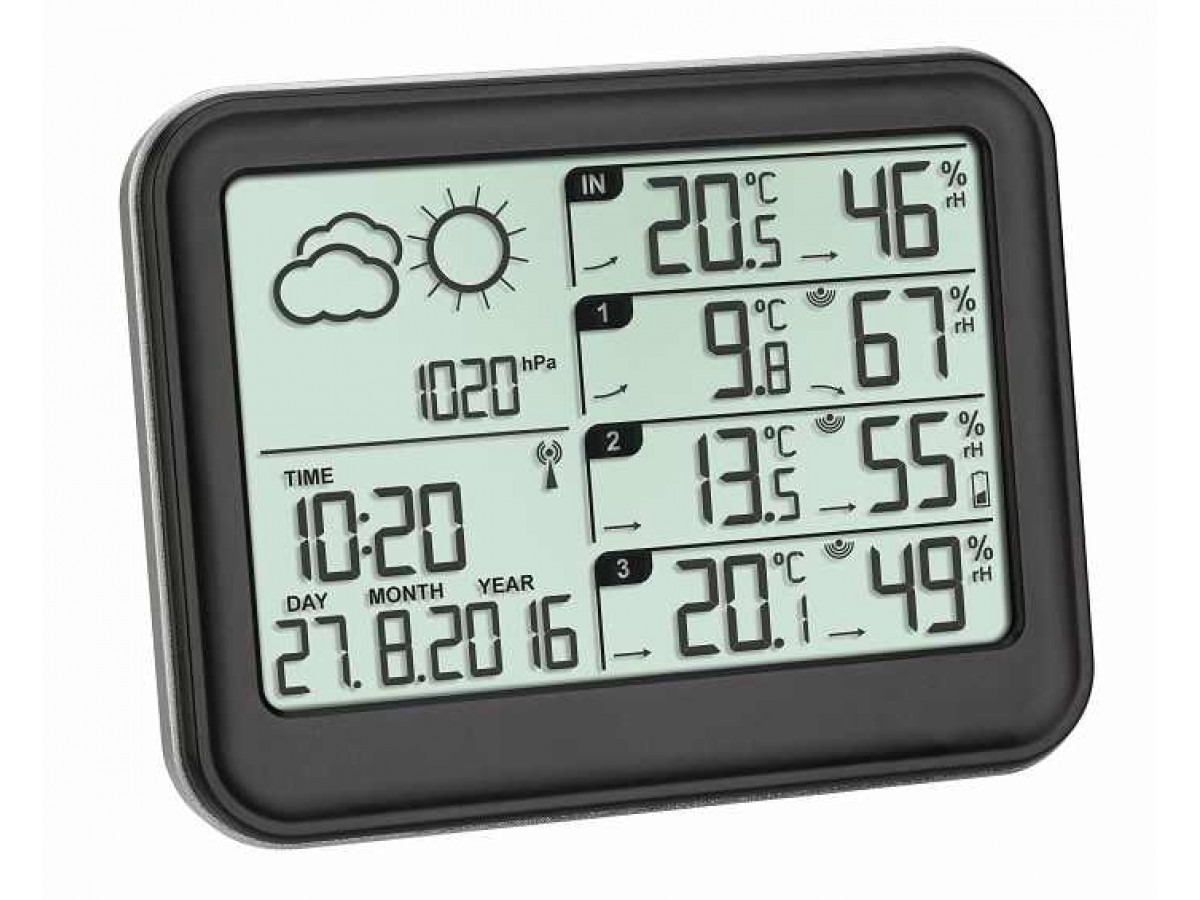 Statie meteo digitala View cu 3 senzori externi wireless TFA S35.1142.01 imagine 2021 soldec-shop.ro