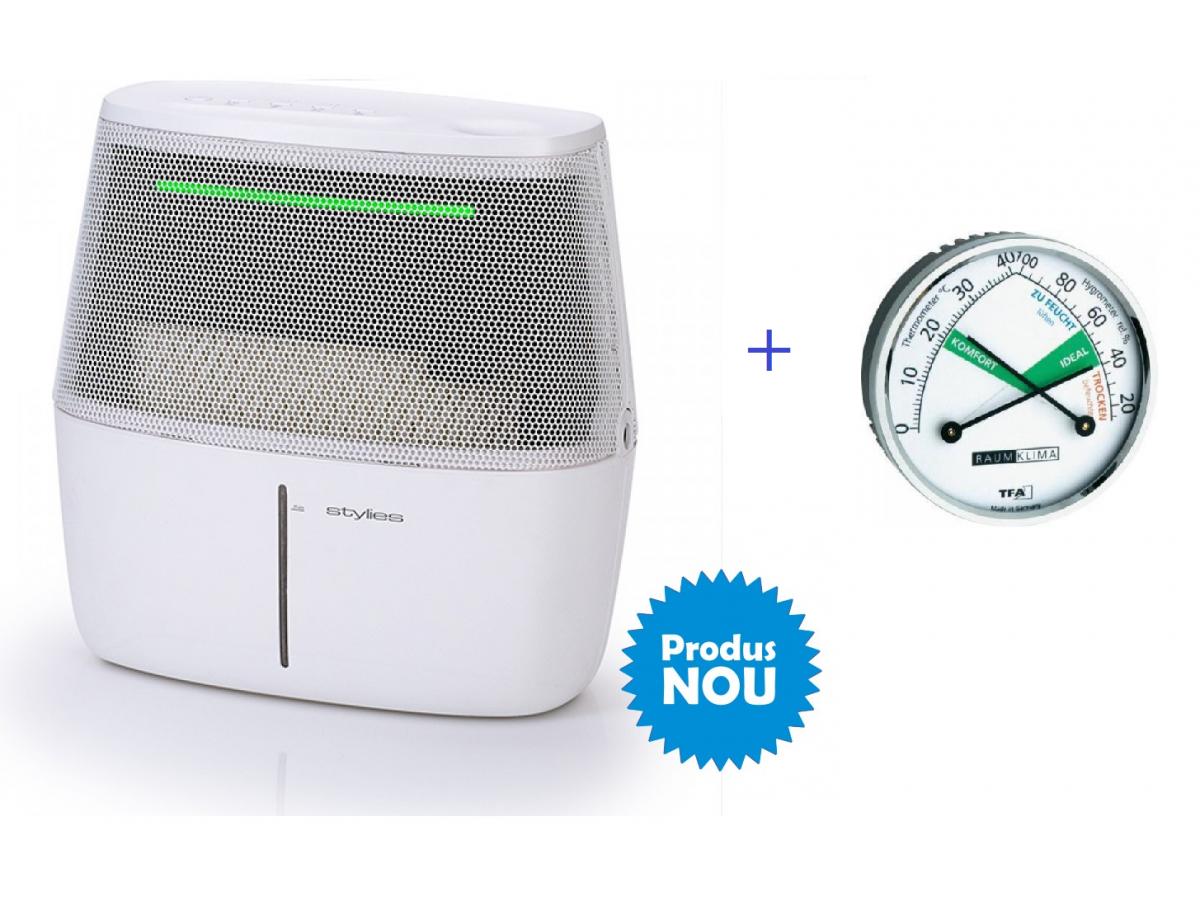 Pachet Umidificator cu evaporare Alaze, senzor umiditate cu culori cu termohigrometru cadou imagine 2021 soldec-shop.ro