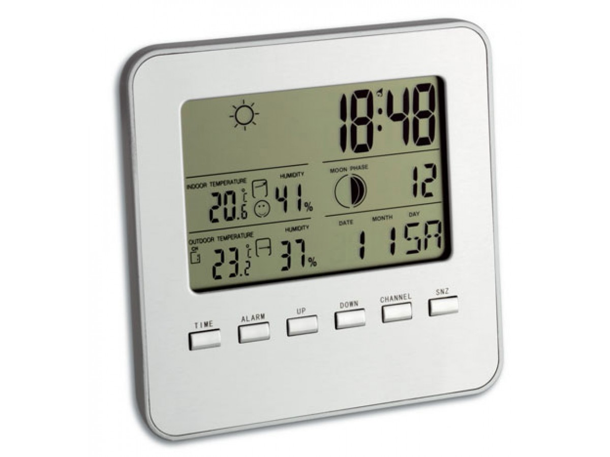 Statie meteo Quadro cu senzor wireless Argintiu TFA S35.1098.54 imagine 2021 soldec-shop.ro
