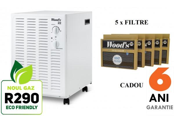 Pachet Dezumidificator si purificator Woods SW22FW Suedia cu 5 filtre cadou