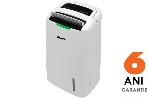 Dezumidificator si purificator Woods AD20 Hybrid Capacitate 20 litri/zi Ionizare Indicator nivel calitate aer Timer